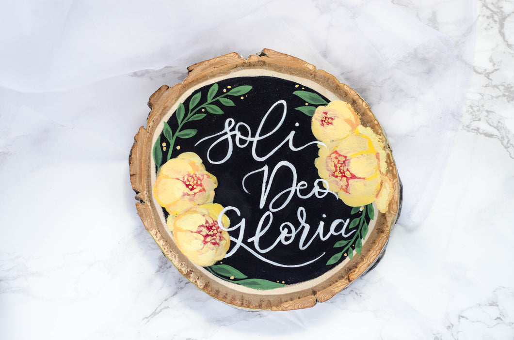 Soli Deo Gloria in Yellow - Wood Cookie