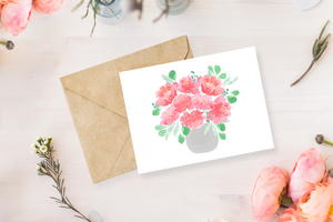 Peonies in a Pot - Greeting Card