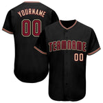 Custom Black Crimson-Khaki Baseball Jersey