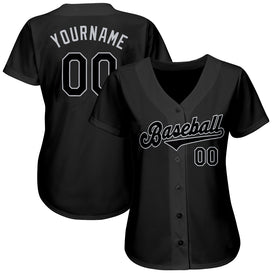 Custom Black Black-Gray Authentic Baseball Jersey