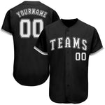 Custom Black White-Gray Authentic Baseball Jersey
