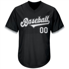 Custom Black White-Gray Authentic Throwback Rib-Knit Baseball Jersey Shirt