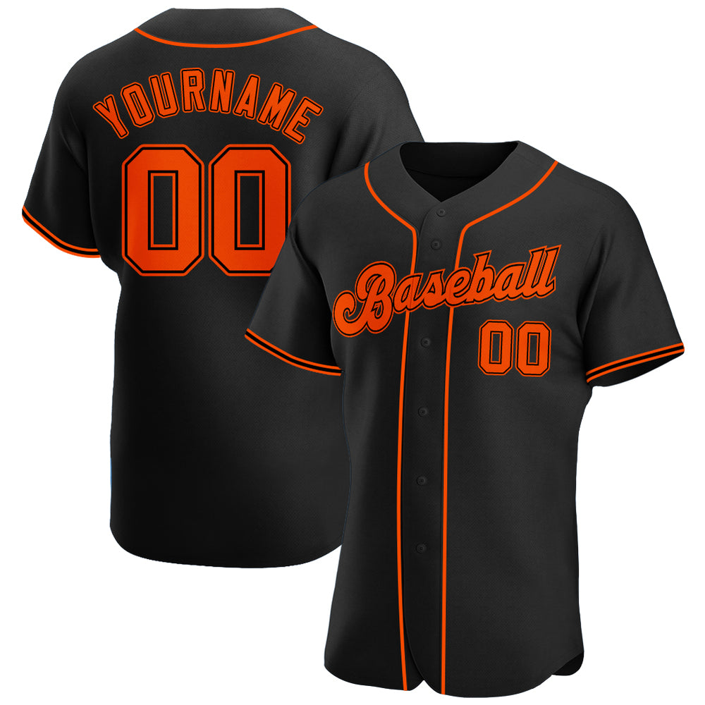 Custom Black Orange-Black Authentic Baseball Jersey