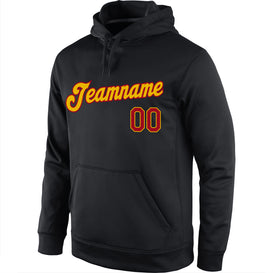 Custom Stitched Black Gold-Red Sports Pullover Sweatshirt Hoodie
