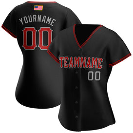 Custom Black Red-Gray Authentic American Flag Fashion Baseball Jersey