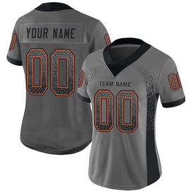 Custom Gray Black-Orange Mesh Drift Fashion Football Jersey