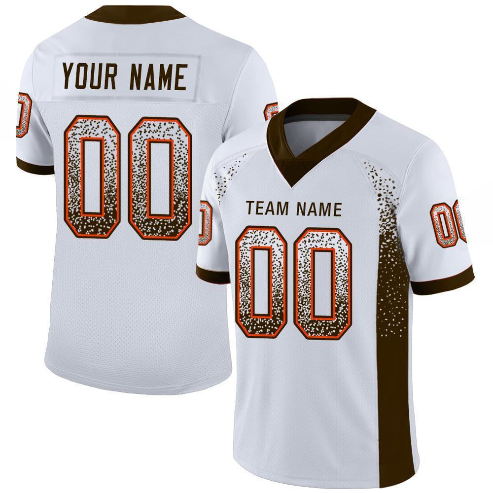 Custom White Brown-Orange Mesh Drift Fashion Football Jersey