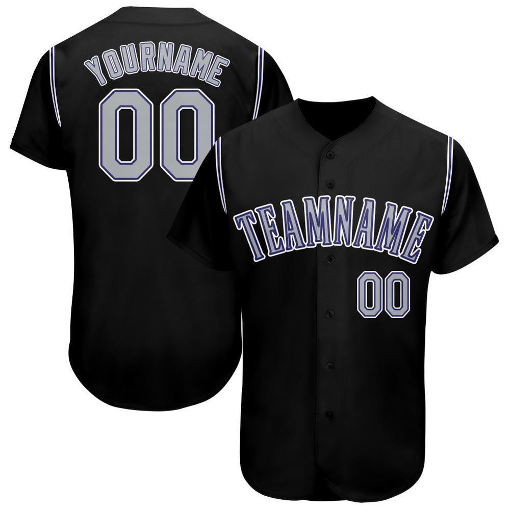 Custom Black Gray-Purple Baseball Jersey