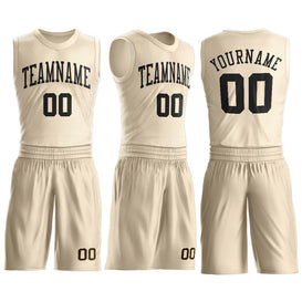Custom Cream Black Round Neck Suit Basketball Jersey