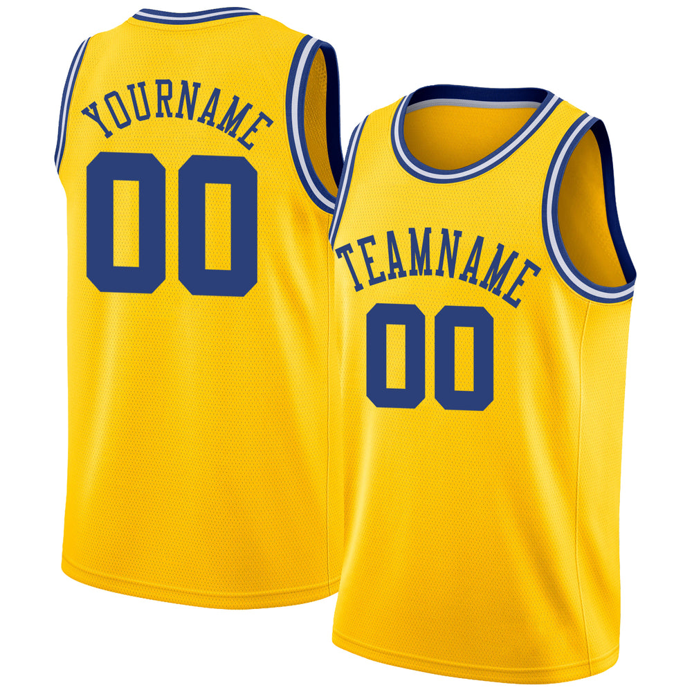 Custom Gold Royal-White Round Neck Rib-Knit Basketball Jersey