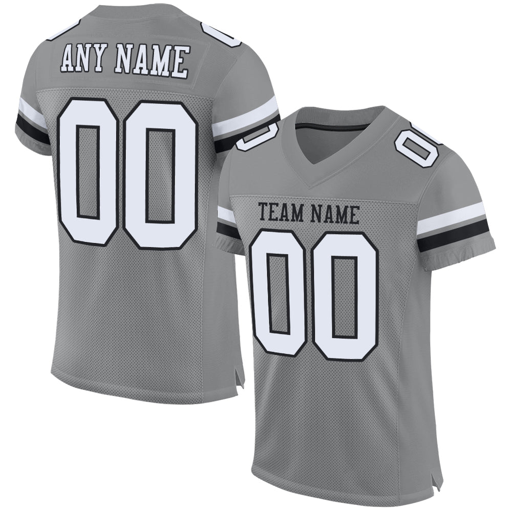 Custom Gray White-Black Mesh Authentic Football Jersey