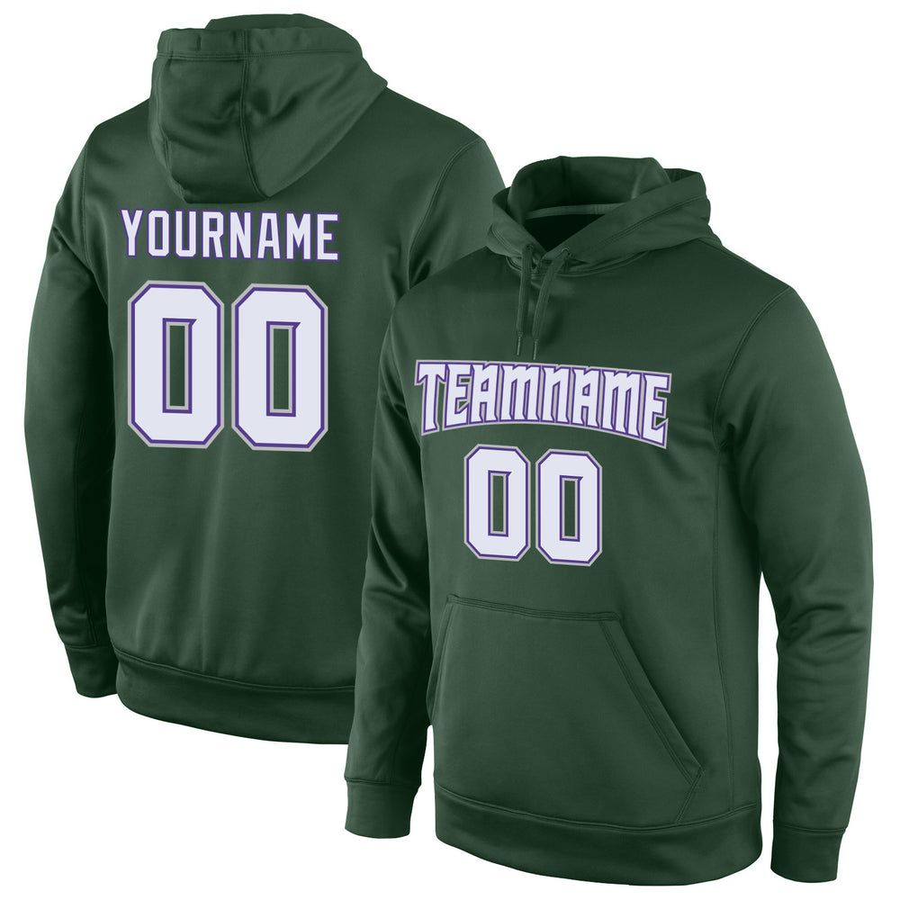 Custom Stitched Green White-Purple Sports Pullover Sweatshirt Hoodie