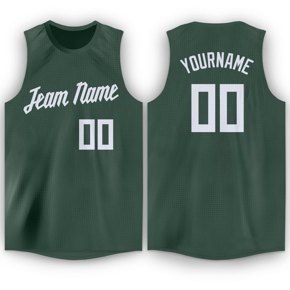 Custom Hunter Green White Round Neck Basketball Jersey