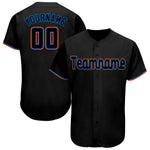Custom Black Powder Blue-Orange Baseball Jersey
