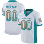Custom White Aqua-Orange Mesh Drift Fashion Football Jersey