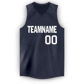 Custom Navy White V-Neck Basketball Jersey