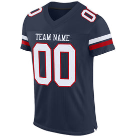 Custom Navy White-Red Mesh Authentic Football Jersey