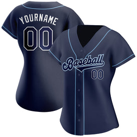 Custom Navy Navy-Powder Blue Authentic Baseball Jersey