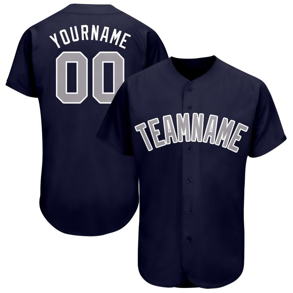 Custom Navy Gray-White Baseball Jersey