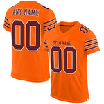 Custom Orange Burgundy-White Mesh Authentic Football Jersey