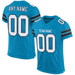 Custom Panther Blue White-Black Mesh Authentic Football Jersey