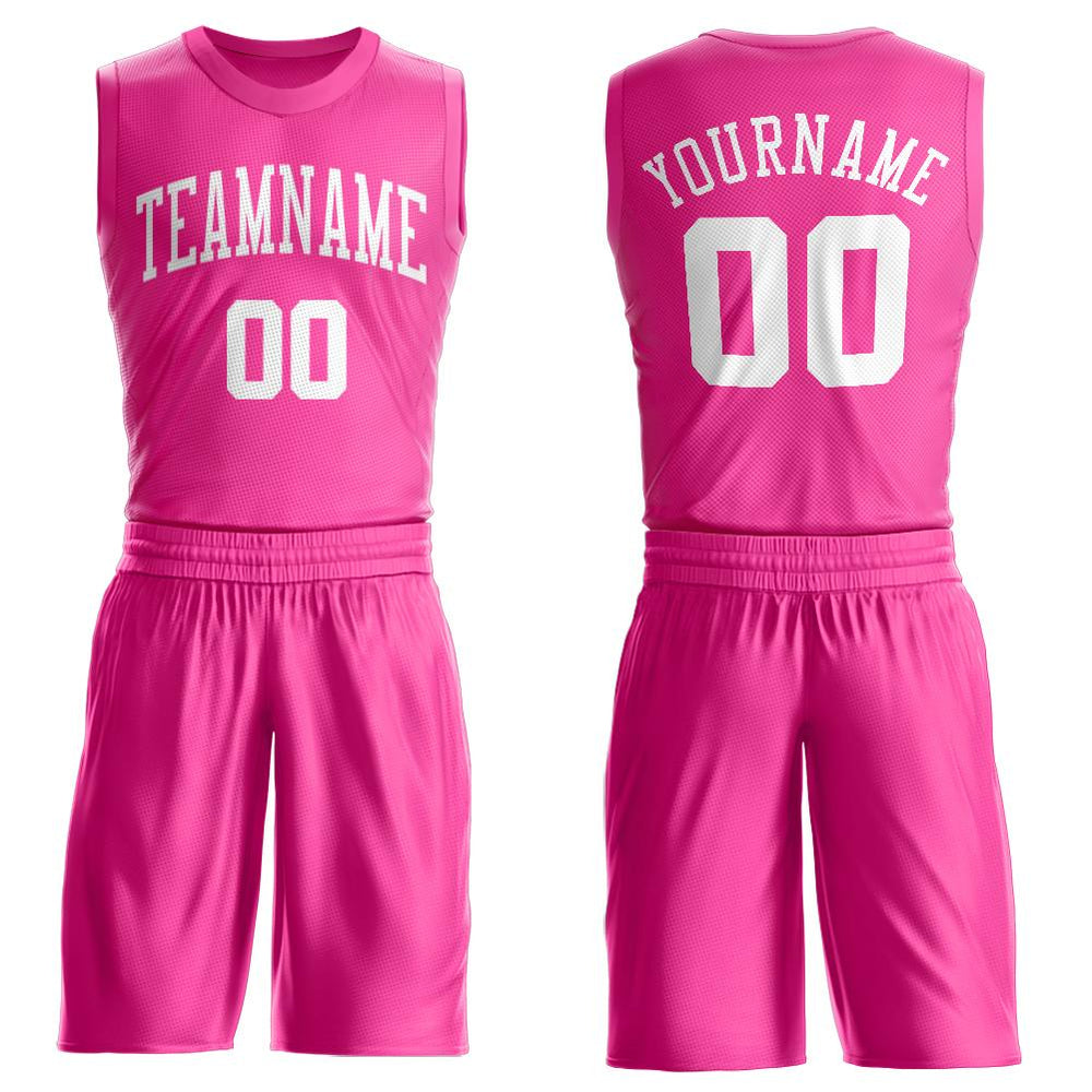 Custom Pink White Round Neck Suit Basketball Jersey