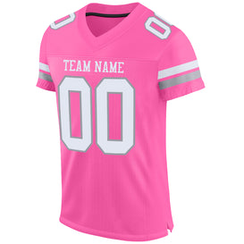 Custom Pink White-Light Gray Mesh Authentic Football Jersey