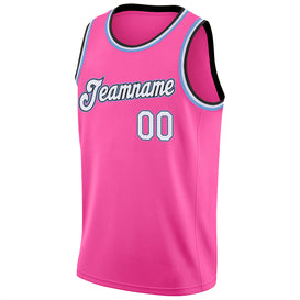 Custom Pink White-Light Blue Round Neck Rib-Knit Basketball Jersey