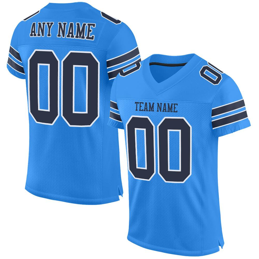 Custom Powder Blue Navy-White Mesh Authentic Football Jersey