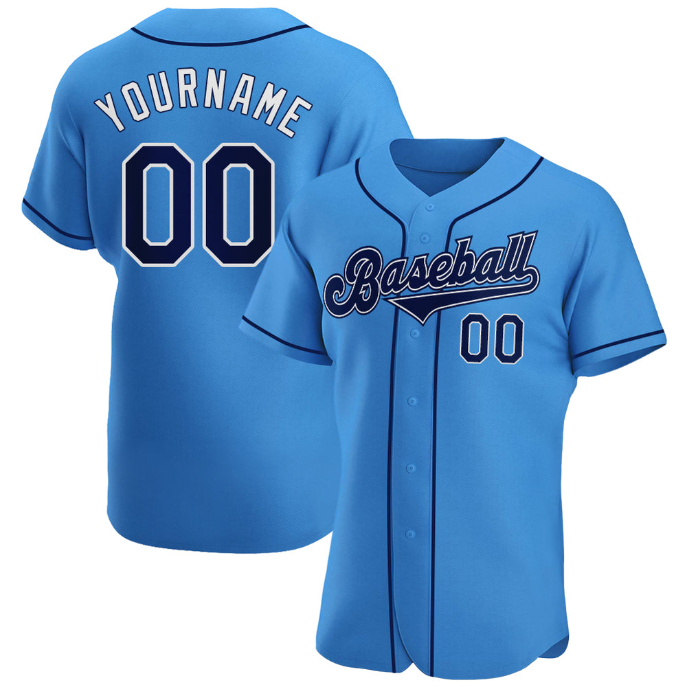 Custom Powder Blue Navy-White Authentic Baseball Jersey