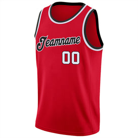 Custom Red White-Black Round Neck Rib-Knit Basketball Jersey