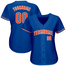 Custom Royal Orange-White Authentic Baseball Jersey