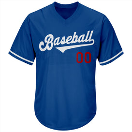 Custom Royal White-Red Authentic Throwback Rib-Knit Baseball Jersey Shirt