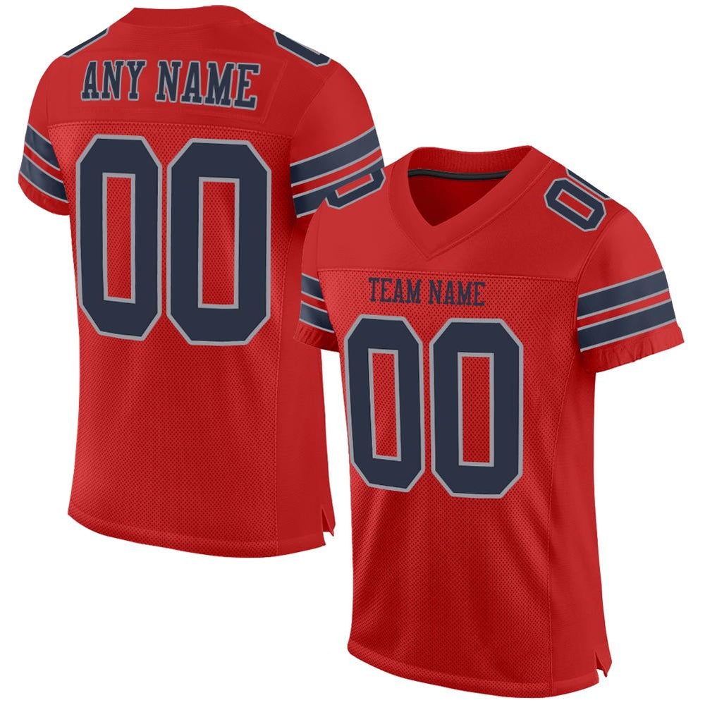 Custom Scarlet Navy-Light Gray Mesh Authentic Football Jersey