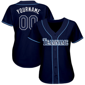 Custom Navy White-Powder Blue Baseball Jersey