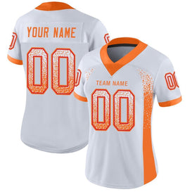 Custom White Orange-Red Mesh Drift Fashion Football Jersey