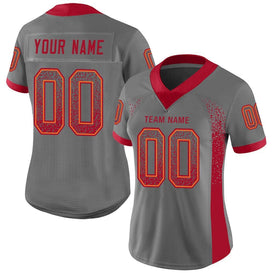 Custom Gray Red-Orange Mesh Drift Fashion Football Jersey