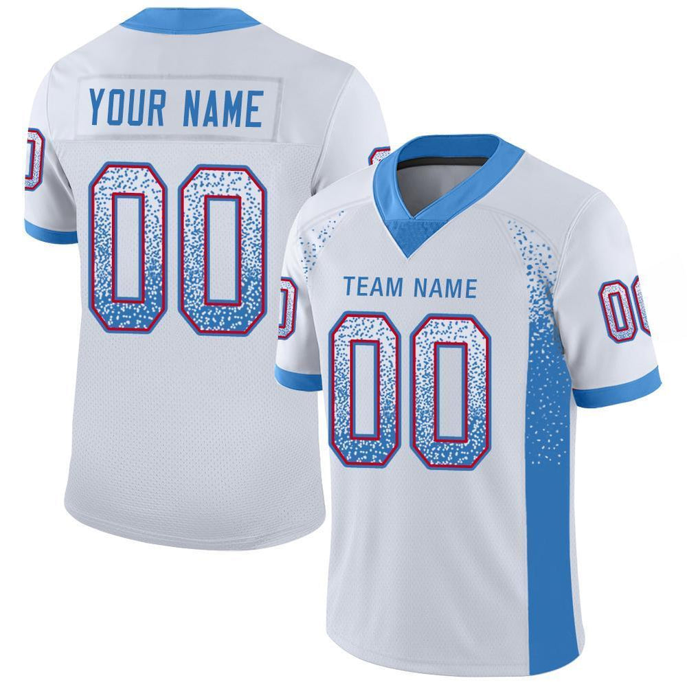 Custom White Powder Blue-Red Mesh Drift Fashion Football Jersey
