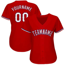 Custom Red White-Royal Baseball Jersey
