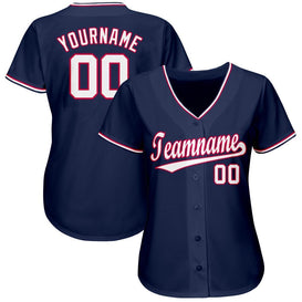 Custom Navy White-Red Baseball Jersey