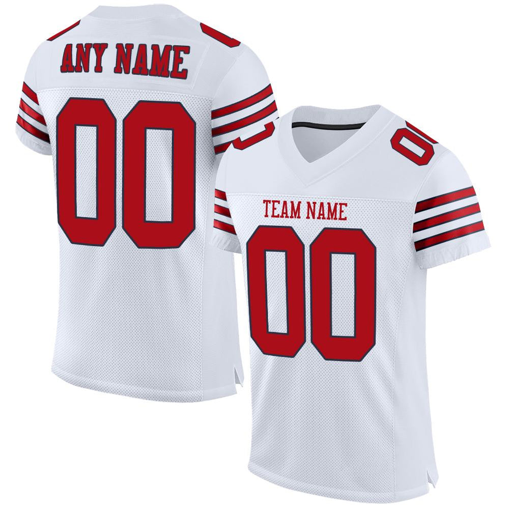 Custom White Red-Navy Mesh Authentic Football Jersey