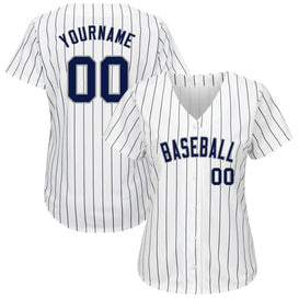 Custom White Navy Strip Navy-Gray Authentic Baseball Jersey