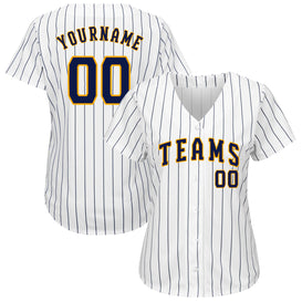 Custom White Navy Strip Navy-Gold Authentic Baseball Jersey