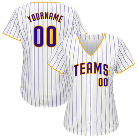 Custom White Purple Strip Purple-Gold Authentic Baseball Jersey