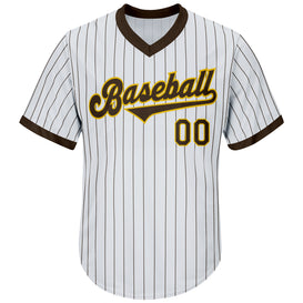 Custom White Brown Strip Brown-Gold Authentic Throwback Rib-Knit Baseball Jersey Shirt