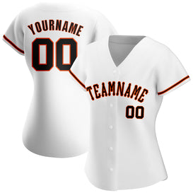 Custom White Black-Orange Authentic Baseball Jersey