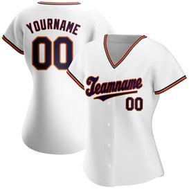 Custom White Navy-Red Authentic Baseball Jersey