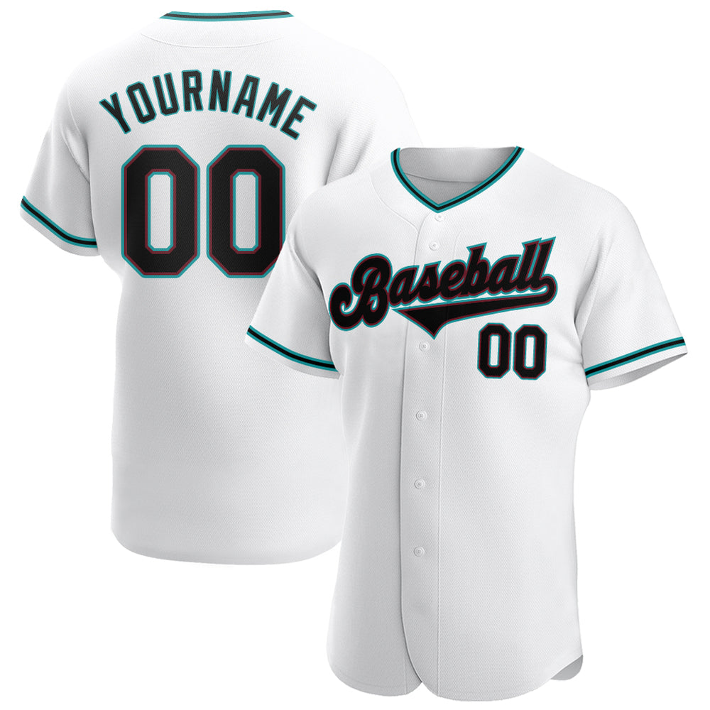 Custom White Black-Aqua Authentic Baseball Jersey