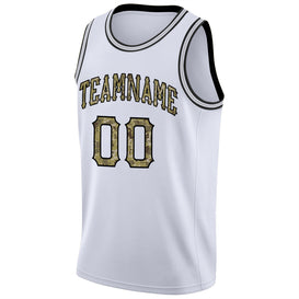 Custom White Camo-Black Round Neck Rib-Knit Basketball Jersey