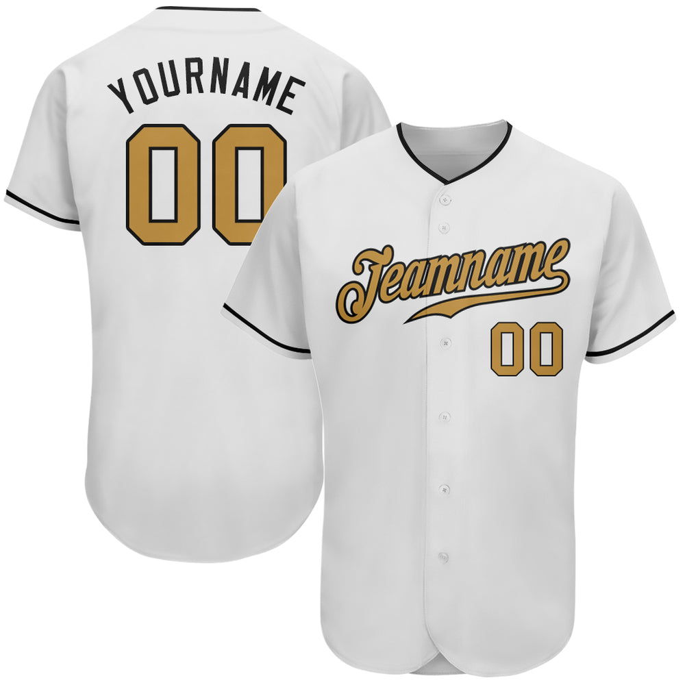 Custom White Old Gold-Black Authentic Baseball Jersey